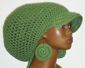 Sage Green Large Brimmed Cap Hat with Drawstring and Earrings Dreadlocks by Razonda Lee Razondalee