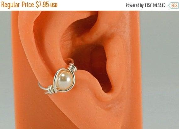 On Sale Sterling Silver Ear Cuff Wrap Swarovski Cream Pearl Ear Jacket