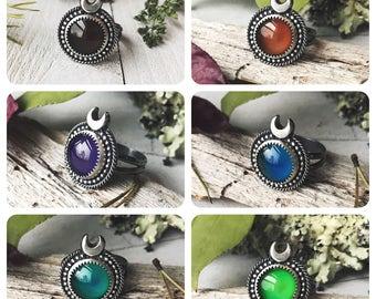Mood Ring - Sterling Silver - Handmade - Celestial Mood Ring