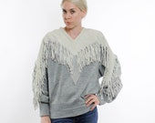 Vintage 70's gray v-neck sweater, heavy suede appliques and tassels, 3 shades of gray, Pioneer Wear brand - Large