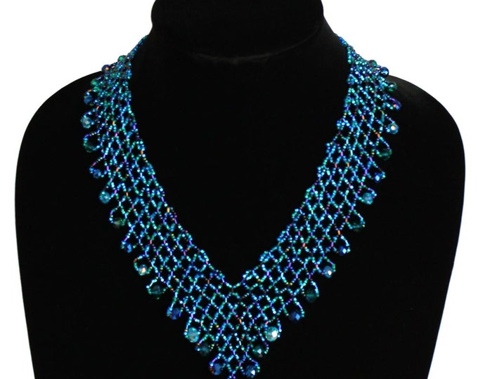 Hand beaded peacock teal blue lattice necklace, magnetic clasp, 19 inches #108