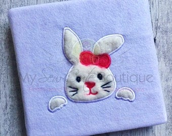 Easter Bunny Applique Design - Machine Embroidery Designs - 8 Sizes - Instant Download