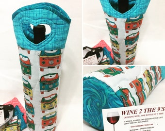 VW Bus  Retro Wine Bag WineTote  Fathers Day Graduation  Quilted Wine Gift Bag