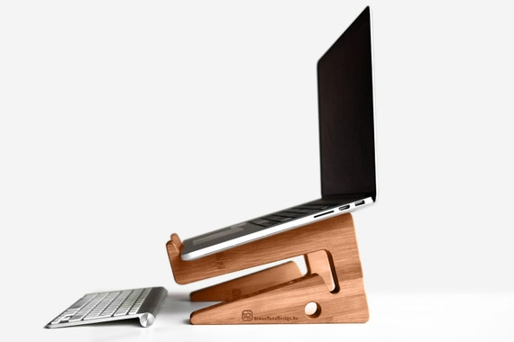 Wood laptop stand / notebook riser: beautiful simple and functional design! Use as docking station, desk organizer and save space.