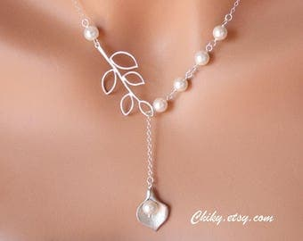 Bridal Jewelry Calla Lilly Lariat Necklace with Leaf Branch and pearl- STERLING SILVER, bridesmaids gifts, wedding jewelry,romantic necklace