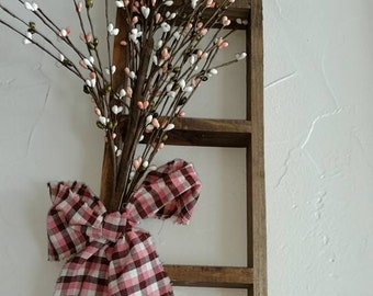 Lath Wood Ladder With Pink/White Pip Berries - Shabby Chic-Primitive- Wall Decor - Spring Decor