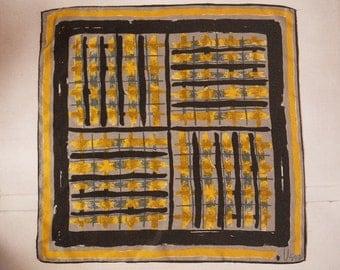 "Vera Abstract Geometric Silk & Rayon Scarf - 21"" Square - Gold Black Gray White Green"