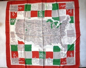 1940s United States Map Scarf in Green, Red, Gray, and White Rayon