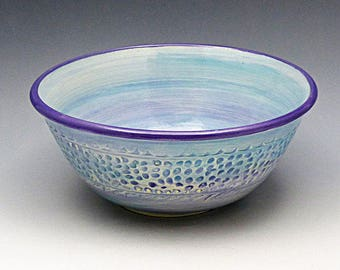 Ceramic Amethyst Bowl with Textured Sides _Serving Bowl_Dining Bowl_Textured Wheel Thrown