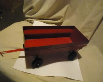 Vintage Red Metal Toy Farm Trailer, collectable