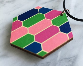 Wooden pendant, hexagon, colourful, geometric honeycomb pattern, pantone colours of 2016, green, pinks, blue, leather cord, style 81