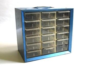 Vintage Blue Akro-Mils Industrial Cabinet