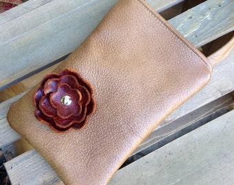 Mocha Brown Leather Maple Poppy Flower Cell Phone Ipod Iphone Droid Gadget Case Zipper Pouch