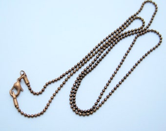 1PC - Copper - Ball Chain Necklace - Copper Plated Brass - 20 inches