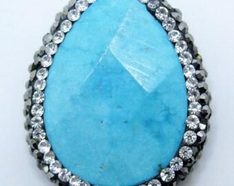 1PC Dyed Blue Howlite Teardrop Bead with Hematite and Crystals, Dyed Howlite Bead, 30X25mm, SJC3, Jewelry Supplies, Zardenia