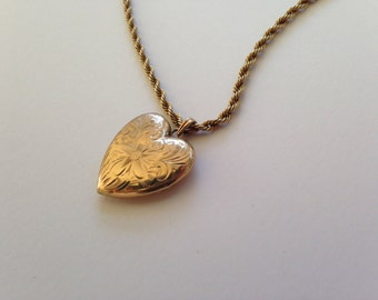 "Vintage Valentine's Day Engraved Heart Locket and Chain, Vintage 10k gold-filled Esme Co. Heart Locket, 1940s Heart Necklace, 18"" Gold Chain"