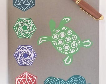Sea Turtle Totem Moleskine Notebook Journal Gray Cover - Blank Paper Inside - 7.5 x 10 inches