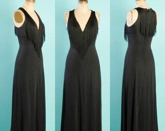 Birthday Sale - Vintage 1970's Joseph Magnin Fringed Maxi Dress