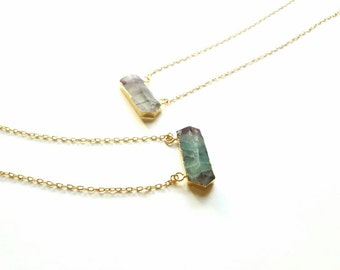 Raw crystal  necklace-24k gold plated crystal pendant- healing  crystal necklace-purple flourite