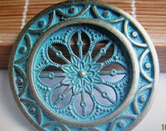Verdigris patina pendants