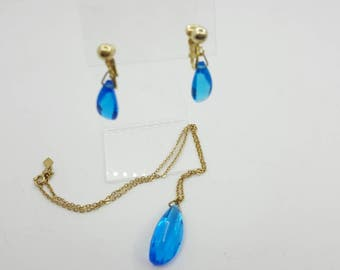 Sarah Coventry Twilight Time  Pendant and Clip earrings 1959 mint condition