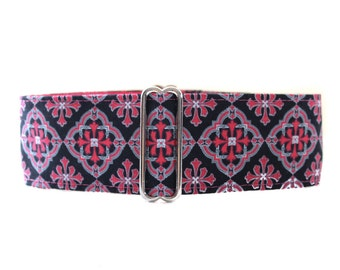 2 inch Martingale Collar, Pink Martingale Collar, Hot Pink Dog Collar, Wide Dog Collar, Hot Pink Dog Collar, Funky, Flower Power
