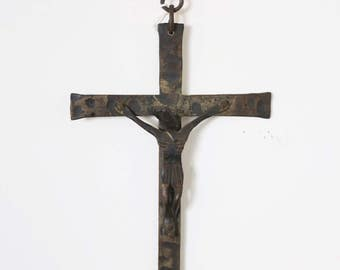 Antique Metal Forged Crucifix - Cross