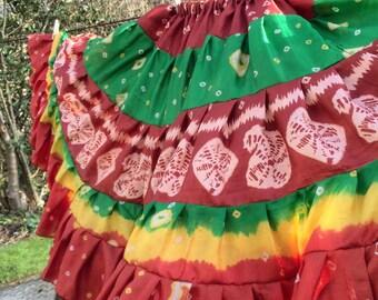 Gypsy skirt, silk skirt, tribal belly dance skirt, preloved silk, tiered skirt, belly dance, Jaipur tie dye skirt, 15 yard skirt