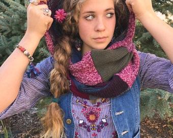 Hooded  Scarf,patchwork knit scarf,infinity scarf, scoodie, eco scarf,  hooded scarf,boho scarf,patchwork scarf, rainbow scarf, Zasra