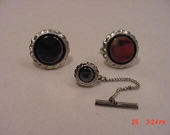 Vintage Silver Tone Metal Cufflinks & Tie Tack Set   16 - 668
