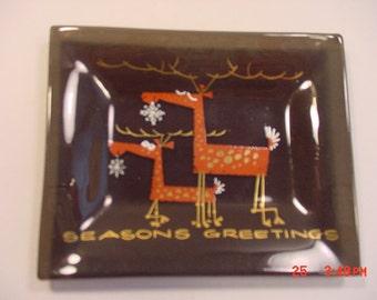 Vintage Cool Christmas Reindeer Glass Dish  17 - 376