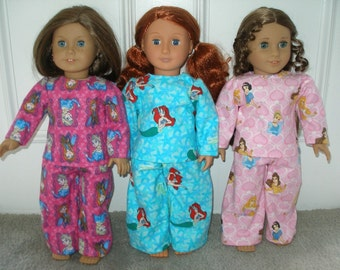 Handmade 18 inch Doll Clothes / 2 piece princess print PJ's - your choice