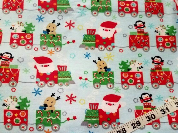 Christmas flannel fabric with santa train cotton quilters for Train print fabric