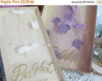 ON SALE Vintage Ladies Hats-Netting-Pink and Purple-Bea West-Retro Chic