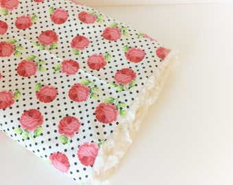 Baby GIRLS Blanket - Rose Baby Blanket / Floral Baby Blankets / Minky Blanket / Baby Girl Nursery Blanket -READY to Ship
