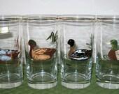 4 Vintage Culver Glass Flat Tumblers Ducks Design Never Used Original Label 22K Gold Trim 12 Ounces Each