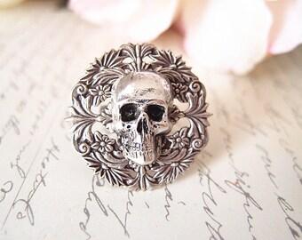 Mort No.2-- Skull Ring-adjustable-steampunk-Victorian-edgy chic- statement ring VS034