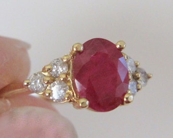 Vintage Mid-Century Natural Ruby and Diamond Engagement Ring Solid 14 Karat Yellow Gold Size 10.25