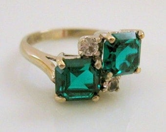 Holiday Sale 25% OFF Vintage DASON Twin Lab Emerald Moi et Toi Ring 10 Karat Yellow Gold with Lab Diamond Accents - Mid-Century Vintage