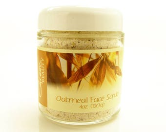 Face Scrub with Oatmeal, 4oz, Oatmeal Face Scrub, Mix with water or oil for gentle exfoliation, Exfoliating Sugar Scrub, Oatmeal Scrub