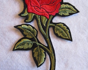 Large Embroidered Red Rose Iron On Patch. Rose Patch, Red Rose, Rose Iron On Patcn, Iron On Patch, Iron On Applique, Rose Applique