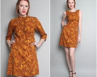 1960's Two Piece Dress and Jacket / 60's Mini Dress and Cropped Jacket / Small