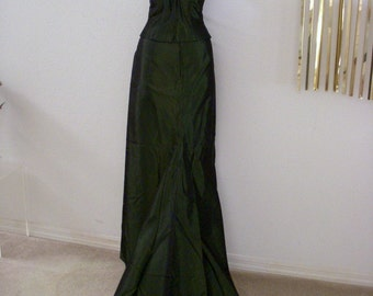 Vintage Iridescent Green Evening Gown with Train - Dark Green Taffeta Bustier and Evening Skirt - Taffeta Party Prom Dress - Small to Medium