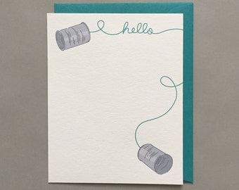 Tin Can Hello / Long Distance / I Miss You / Card for Friend / Friendship / Relationship / Love Card / Blank Greeting Card