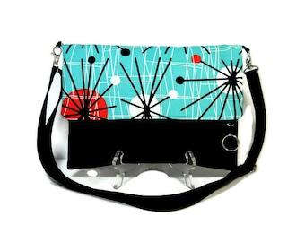 Turquoise Foldover Bag, Crossbody Bag, Zipper Foldover Purse,  Cross Body Bag, Adjustable Strap, Removable Strap, Zipper Clutch, Dots