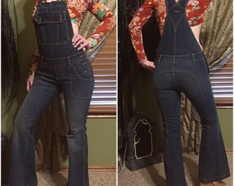 70s 90s Bell Bottom jeans overalls hippie denim jumpsuit romper