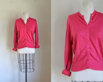vintage 1960s cardigan - STRAWBERRY TAFFY pink sweater / M/L
