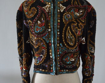 Sequin Jacket Beaded Paisley Cocktail Wedding  NYE Party Holiday Glam