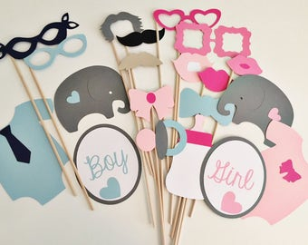 Blue or pink photo props, gender reveal party photo props, baby shower photo props, gender reveal photo booth props, elephant gender reveal