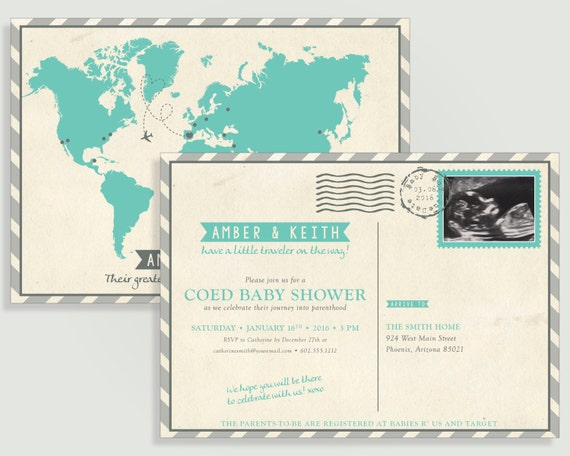 Vintage travel postcard baby shower invitation custom map il570xn filmwisefo